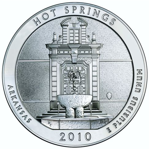 2010 - 5 oz. Silver, Hot Springs, Arkansas - America the Beautiful Bullion Coin - reverse side