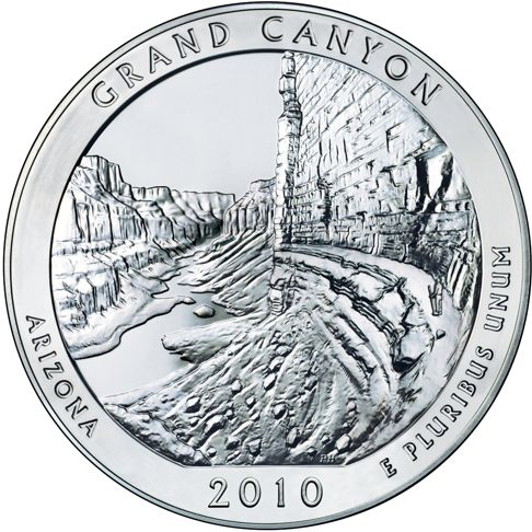 2010 - 5 oz. Silver, Grand Canyon, Arizona - America the Beautiful Bullion Coin - reverse side