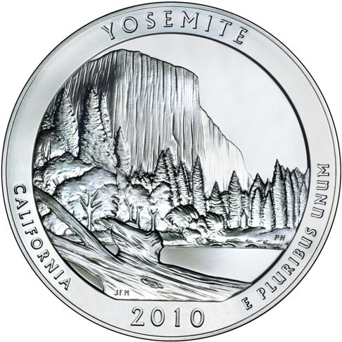 2010 - 5 oz. Silver, Yosemite, California - America the Beautiful Bullion Coin - reverse side