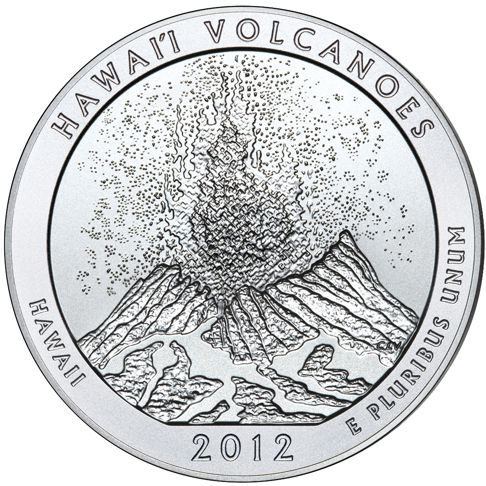 2012 - 5 oz. Silver, Volcanoes, Hawaii - America the Beautiful Bullion Coin - reverse side