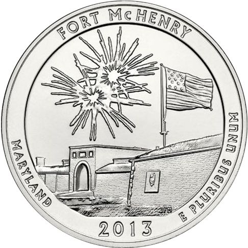 2013 - 5 oz. Silver, Fort McHenry, Maryland - America the Beautiful Bullion Coin - reverse side