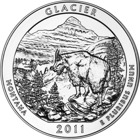 2011 - 5 oz. Silver, Glacier, Montana - America the Beautiful Bullion Coin - reverse side
