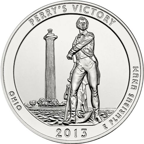 2013 - 5 oz. Silver, Perry's Victory, Ohio - America the Beautiful Bullion Coin - reverse side