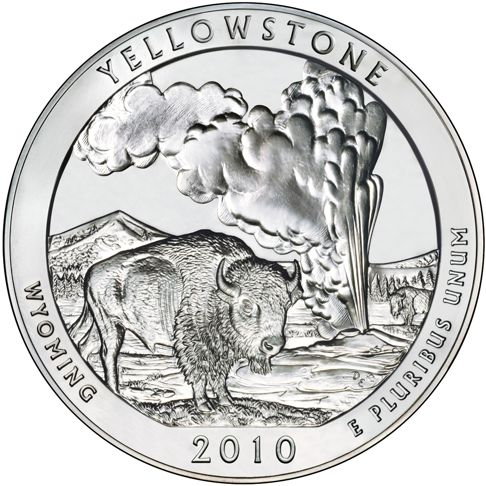 2010 - 5 oz. Silver, Yellowstone, Wyoming - America the Beautiful Bullion Coin - reverse side
